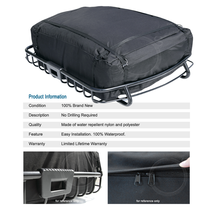 Heavy duty roof top rack luggage basket travel storage for Rb storage