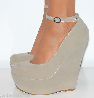 LADIES NUDE HIGH HEELS WEDGE PLATFORM SHOE SANDAL ANKLE STRAP