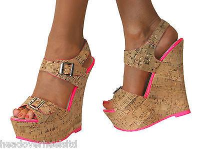 Ladies Nude Cork Wedge Platform High Heel Peep Toe Strappy