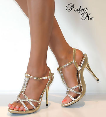 ladies diamante glitter strappy ankle sandals shoes high
