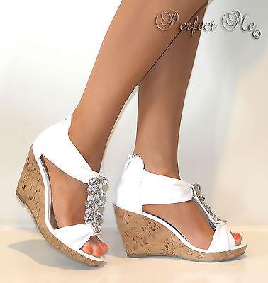Ladies White Jewelled Cork Strappy Wedge T Bar Sandals