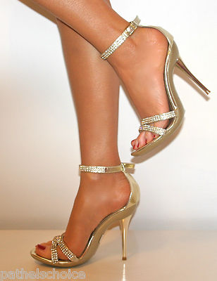 LADIES DIAMANTE GLITTER STRAPPY ANKLE SANDALS SHOES HEELS WEDDING ...