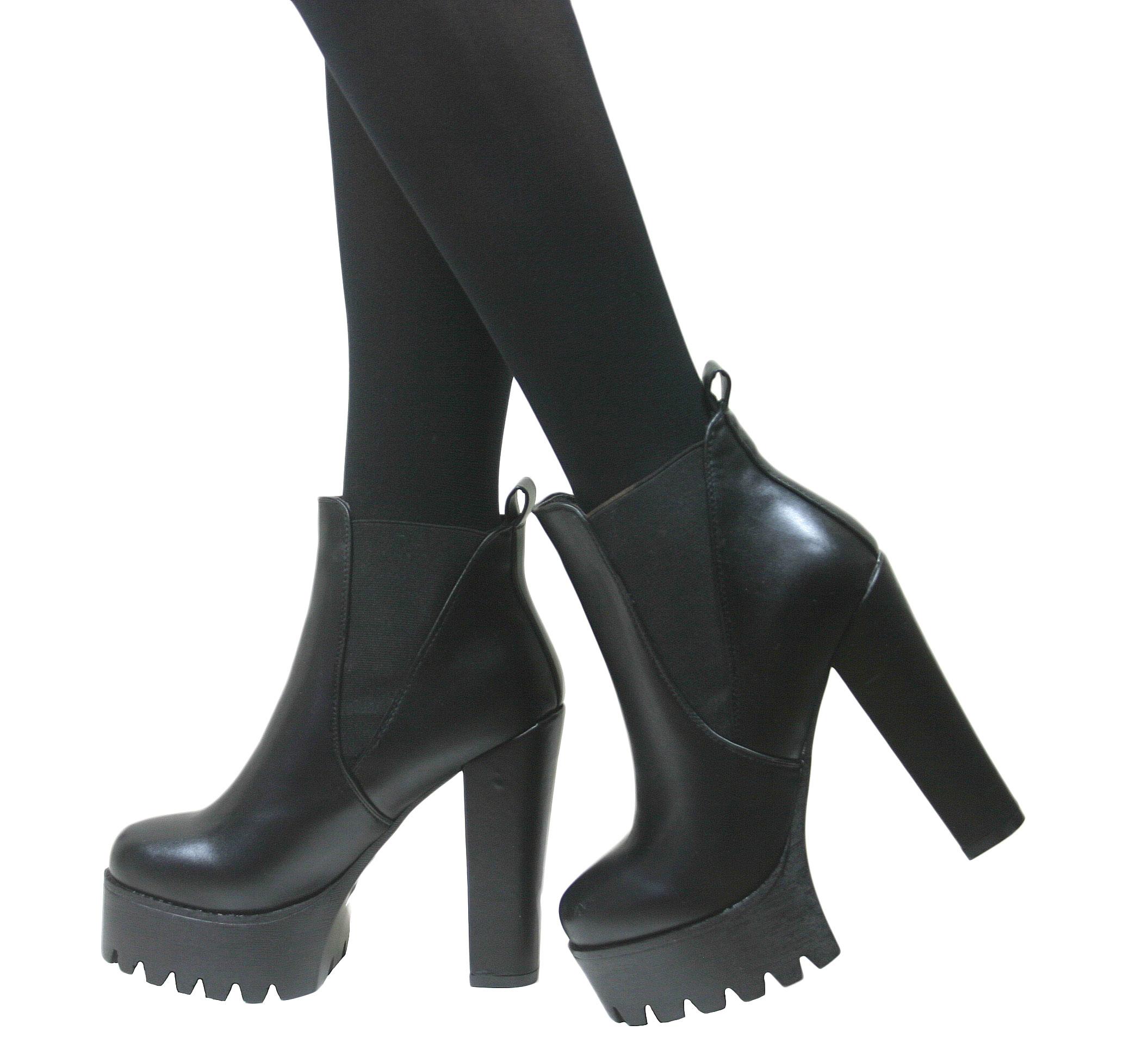 Ladies Womens Cleated Chunky Platform Sole Block Heel Ankle ...