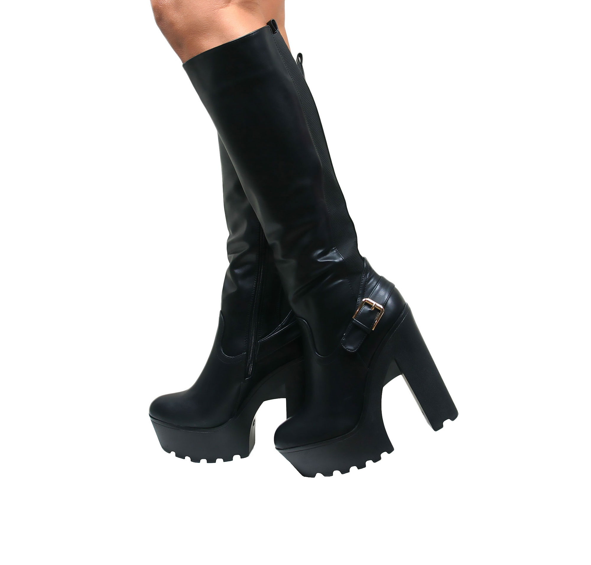 Wide shaft fetish boots