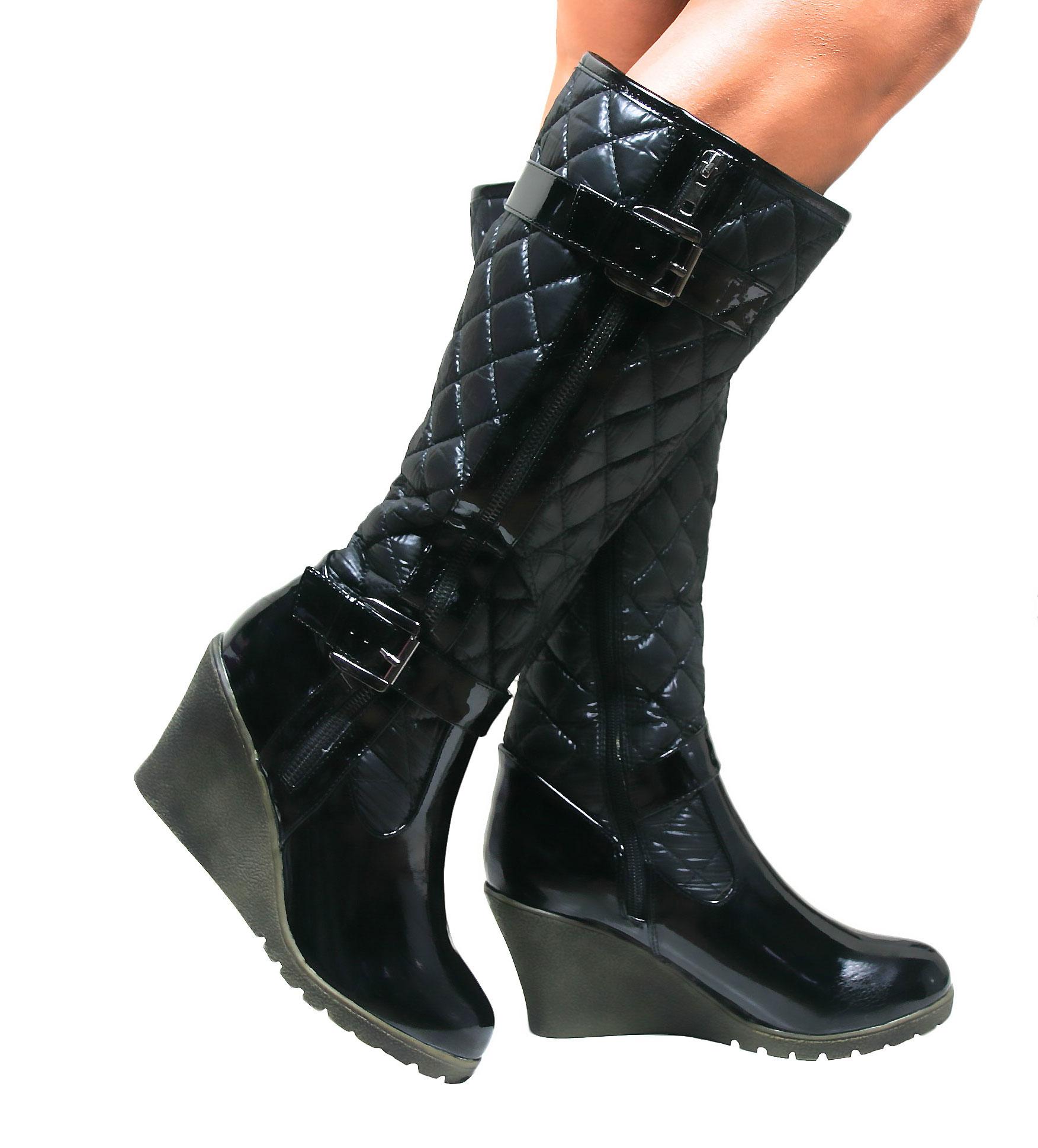 ladies knee high patent boots
