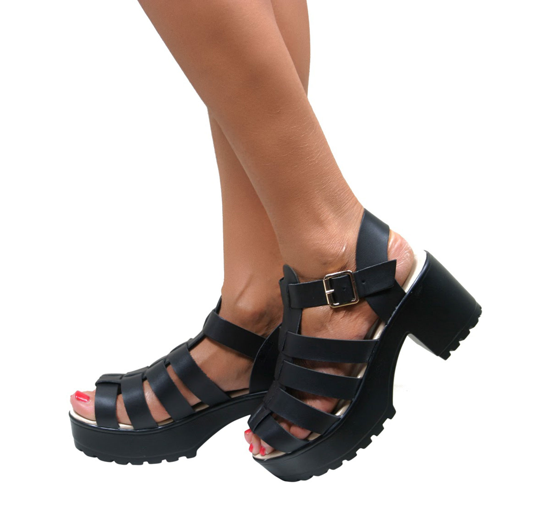 LADIES GLADIATOR CUT OUT PUNK SANDALS CLEATED SOLE CHUNKY BLOCK ...