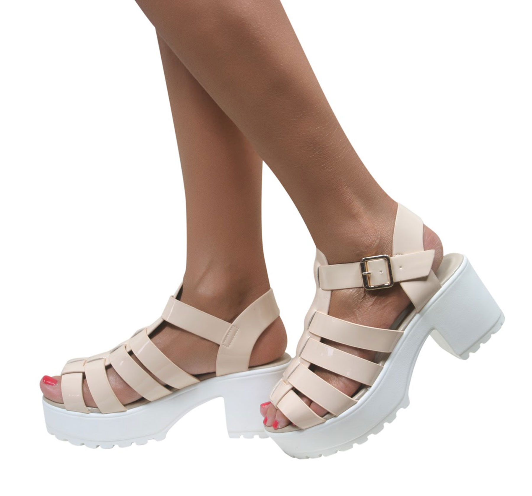 LADIES GLADIATOR CUT OUT PUNK SANDALS CLEATED SOLE CHUNKY BLOCK