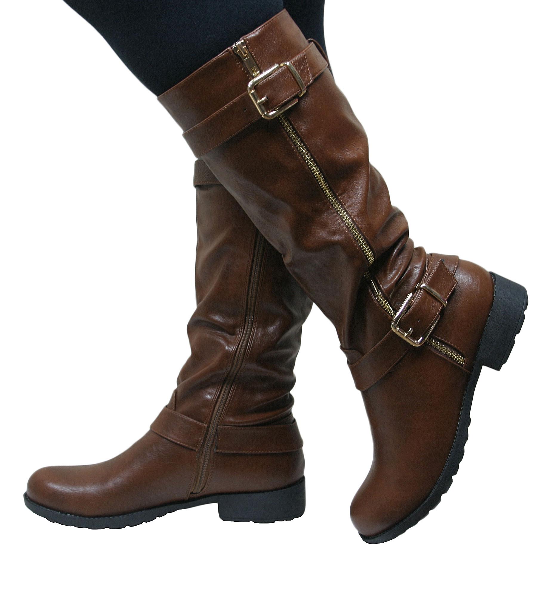 womens knee high flat low chunky heel wide fit biker