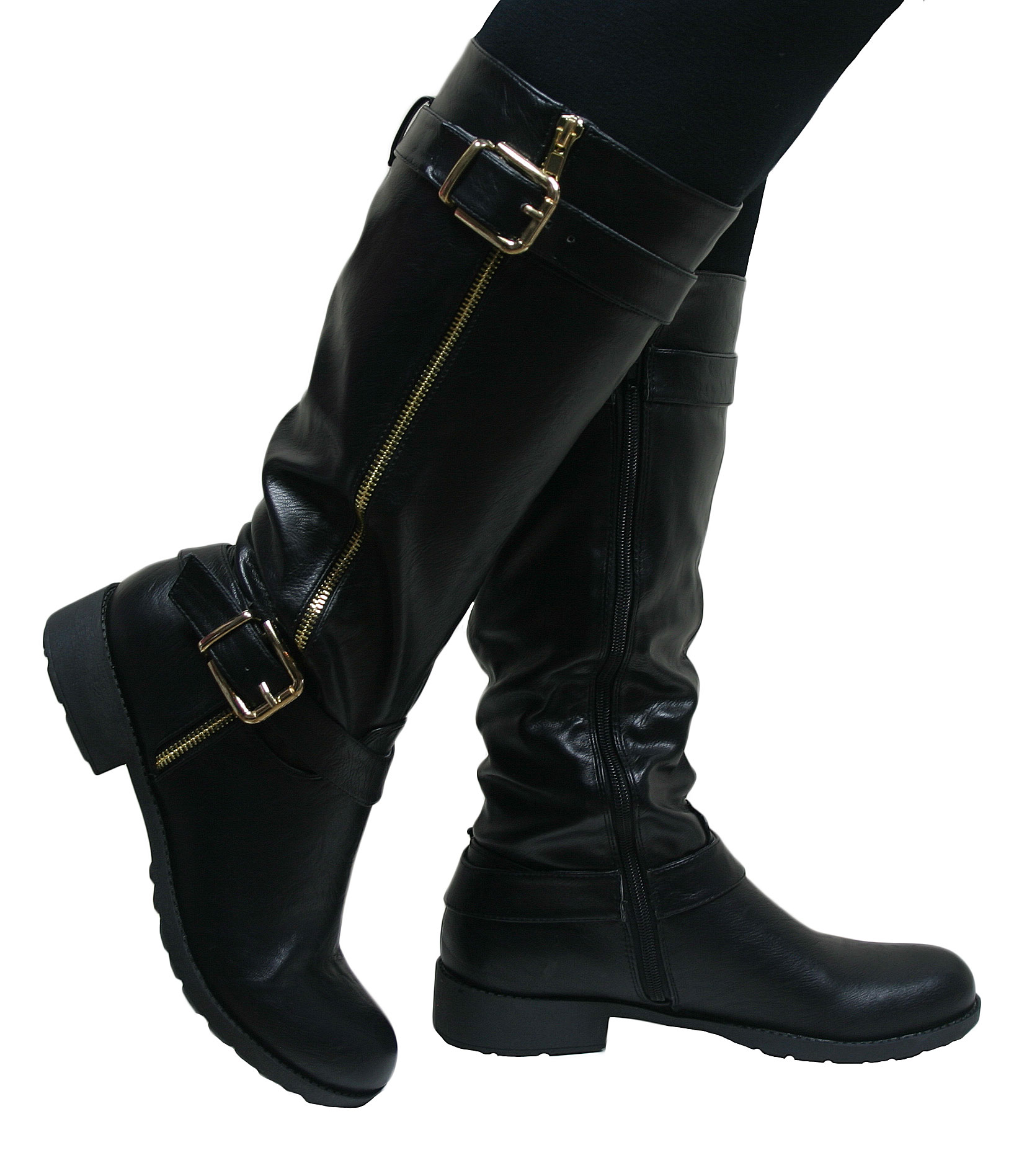 Lastest WOMENS LADIES BLOCK HEEL KNEE HIGH BLACK LEATHER STYLE BOOTS SIZE 38