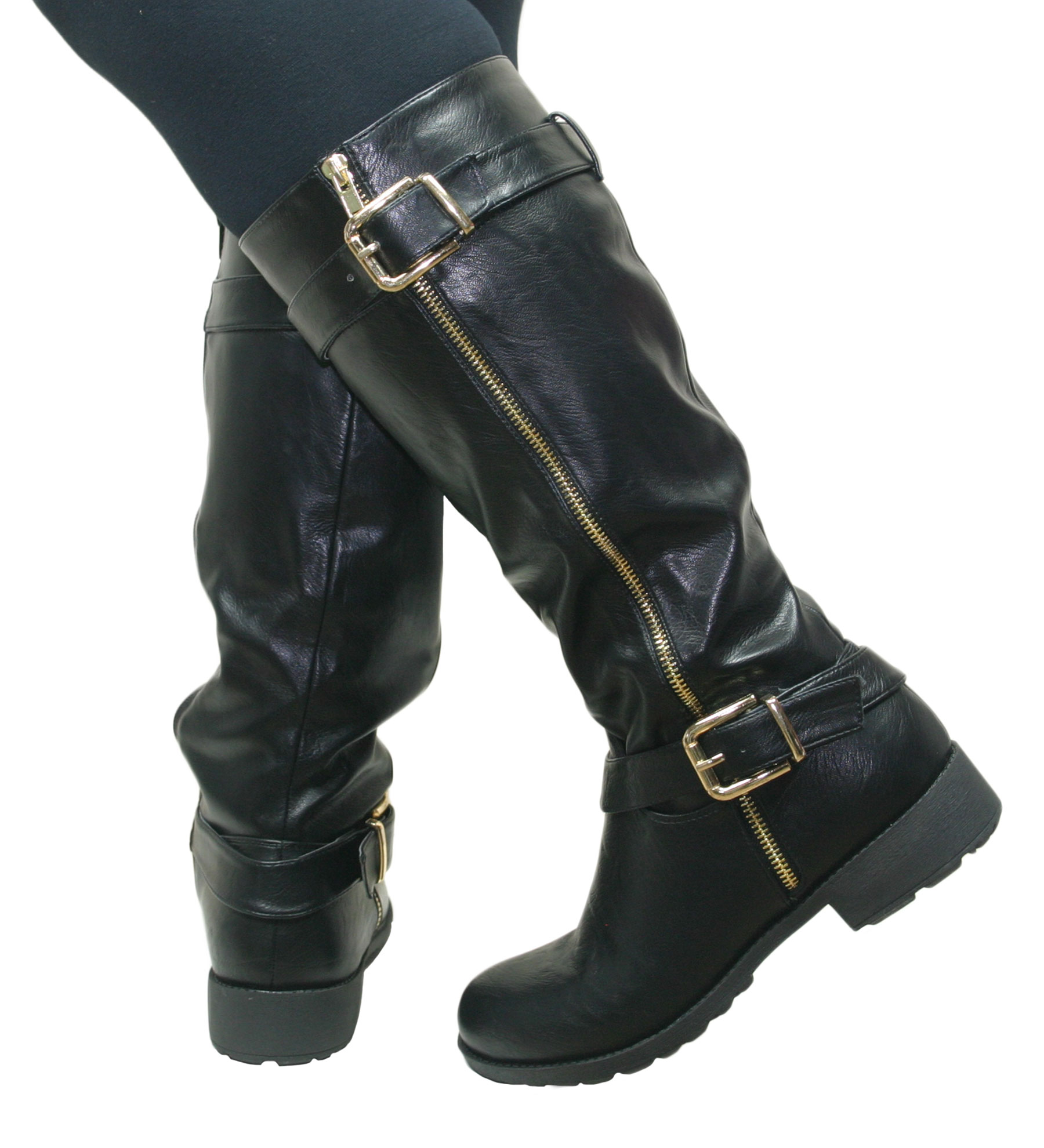Womens Knee High Flat Low Chunky Heel Wide Fit Biker Riding ...