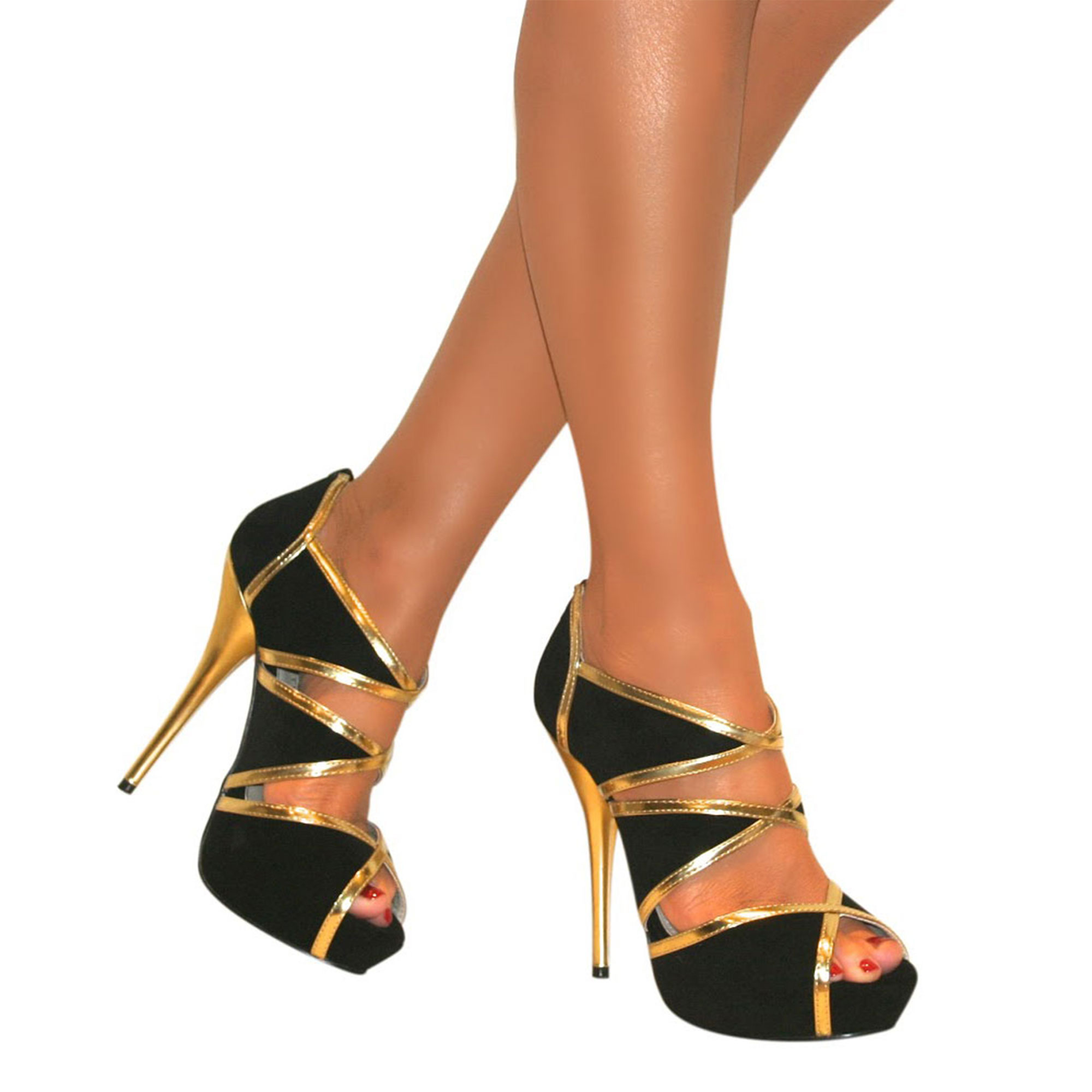 WOMENS BLACK GOLD CUT OUT HIGH STILETTO HEEL PEEP TOE SANDALS