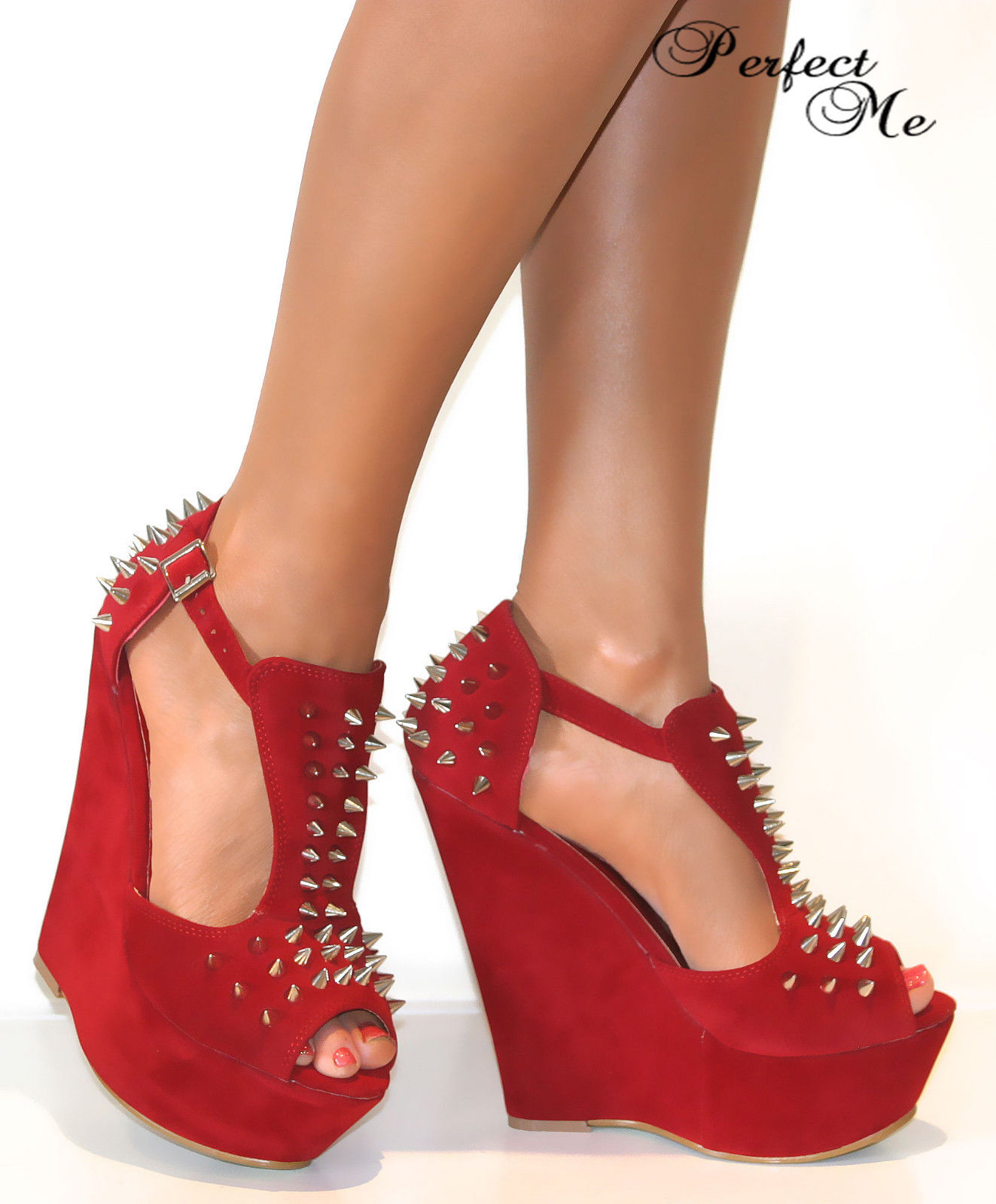 LADIES-BLACK-RED-HIGH-WEDGE-HEELS-PLATFORM-T-BAR-SPIKE-STUD-STUDS-PEEP-TOE-SHOE
