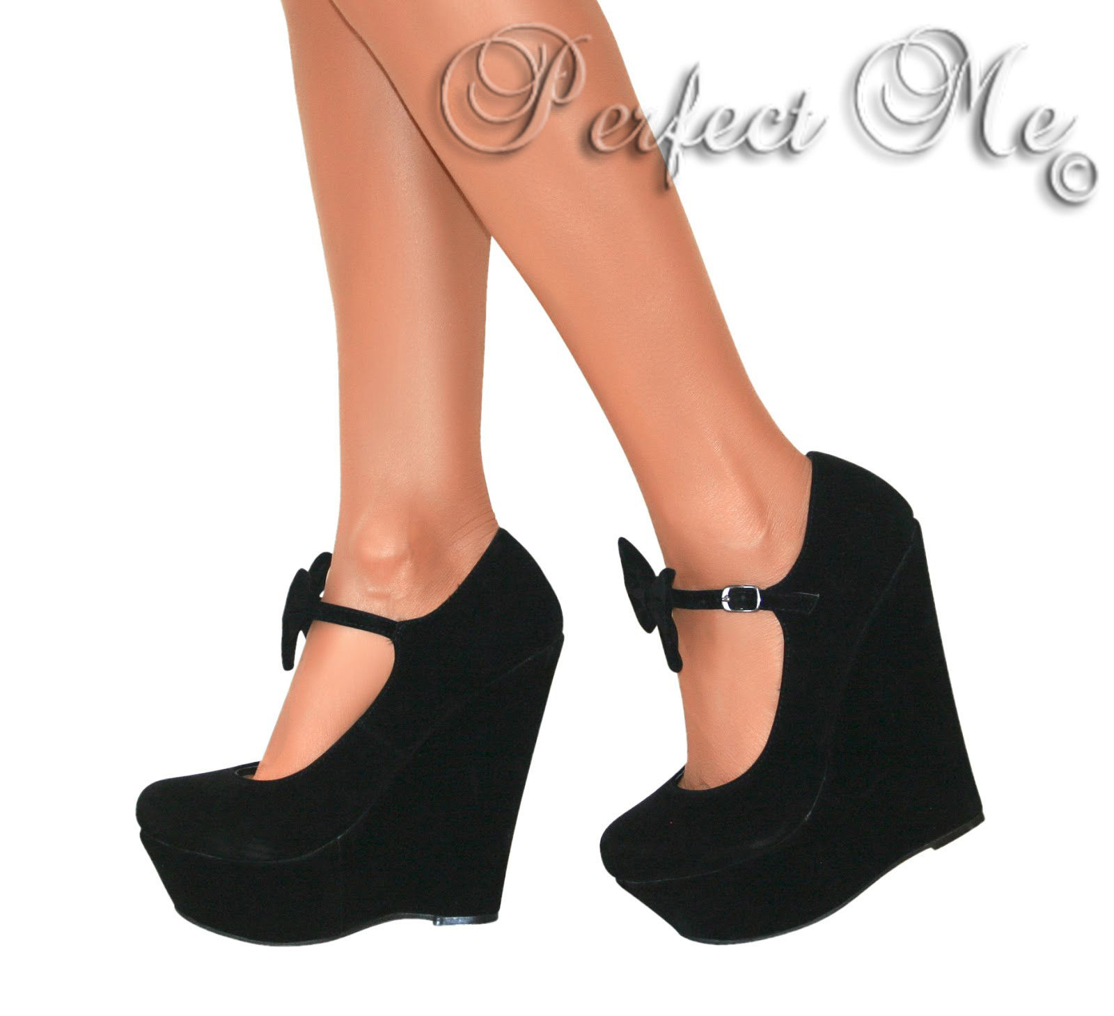 LADIES MARY JANE BOW HIGH WEDGE HEELS SHOE PLATFORM STRAPPY SUMMER ...