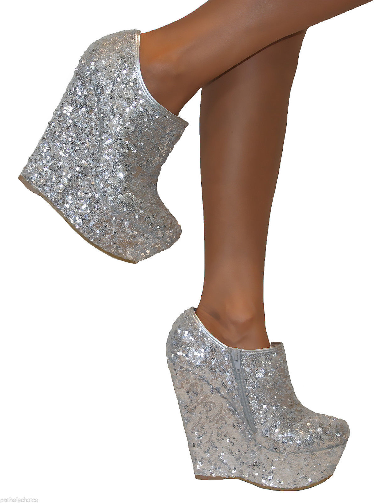 silver sequin glitter platform high wedge heels