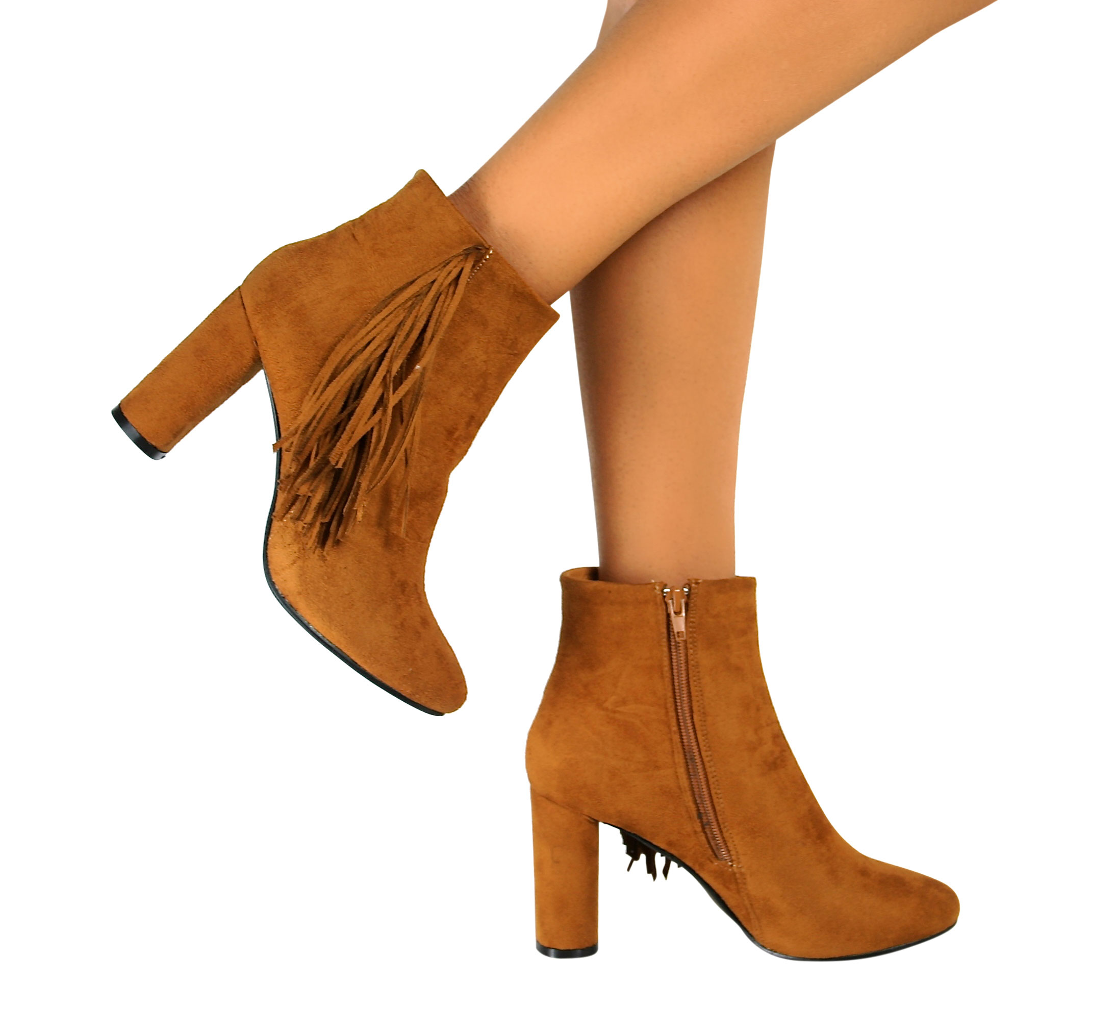 new womens suede mid high block heel ankle boots