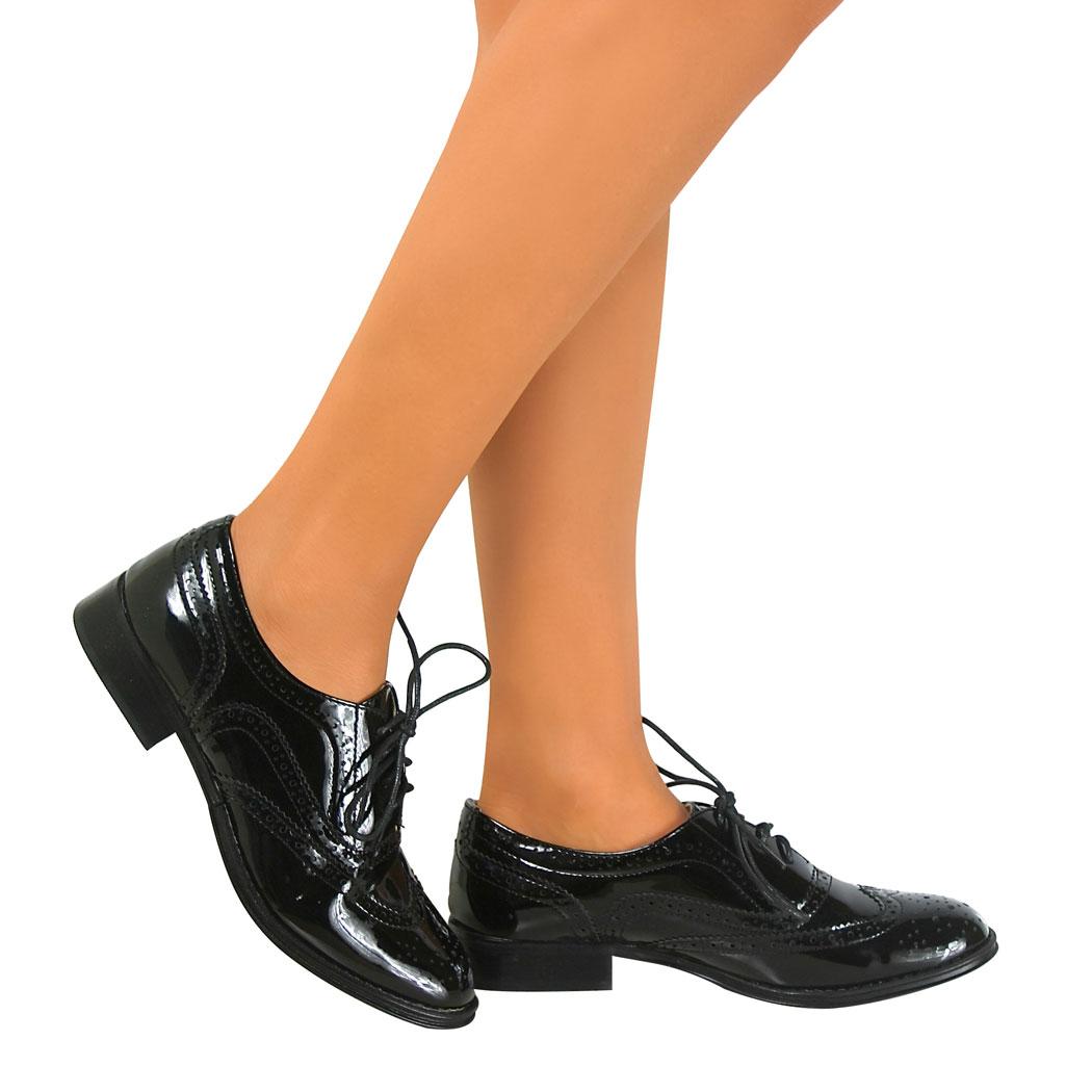 Womens Ladies Girls School Brogue Lace Work Vintage Oxford Flat Shoes Pumps Size