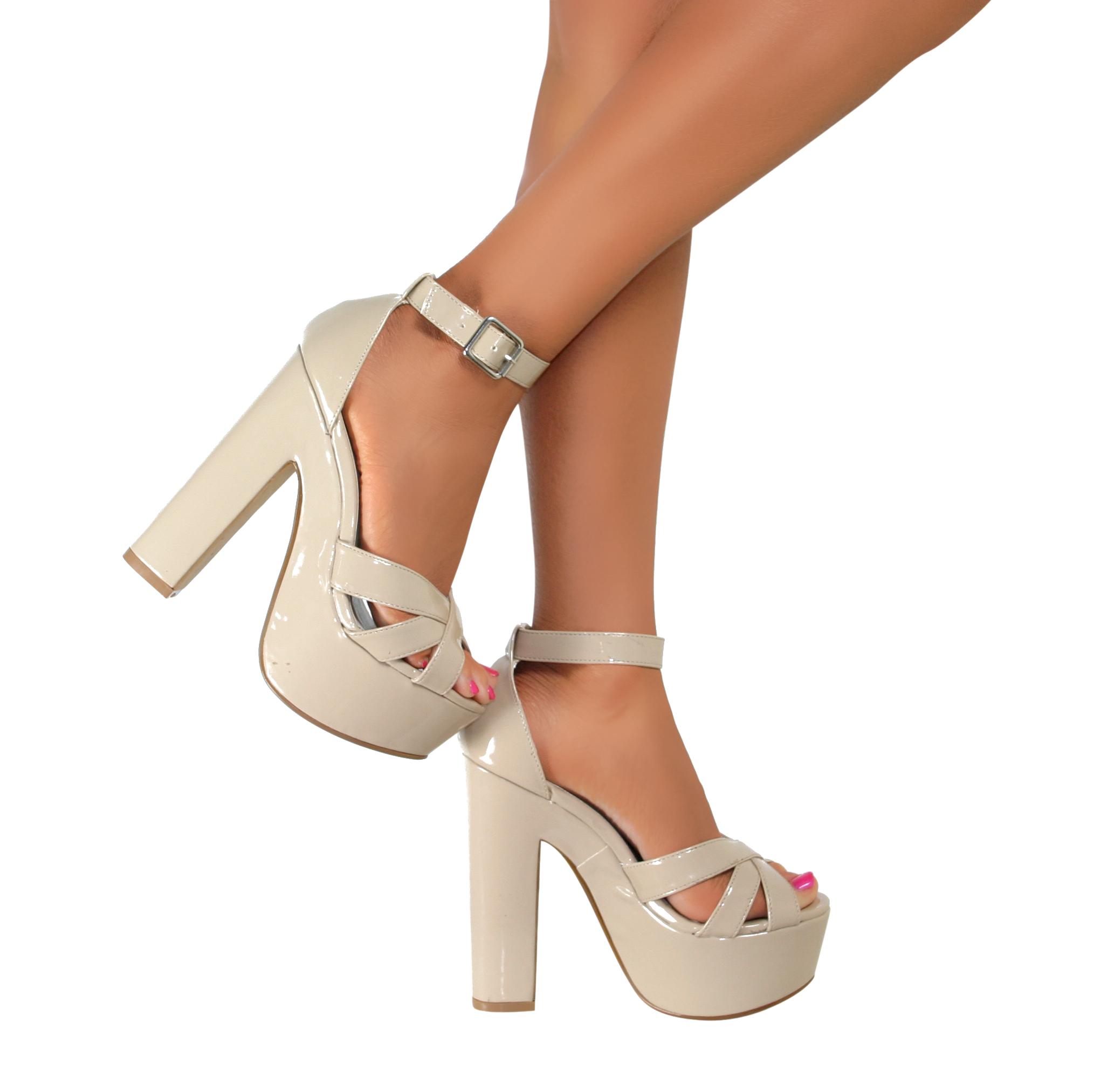 Ladies Ankle Strap Peep Toe Platform Chunky Block High Heel ...