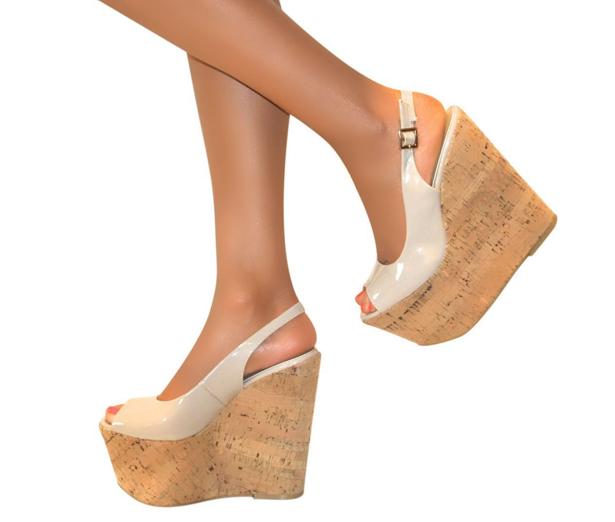 LADIES-SLINGBACK-PLATFORM-PATENT-CORK-WEDGE-HIGH-HEEL-