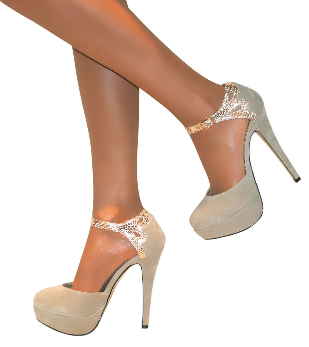 Strappy Glitter Heel Shoes - Ivory Coast vcCD3