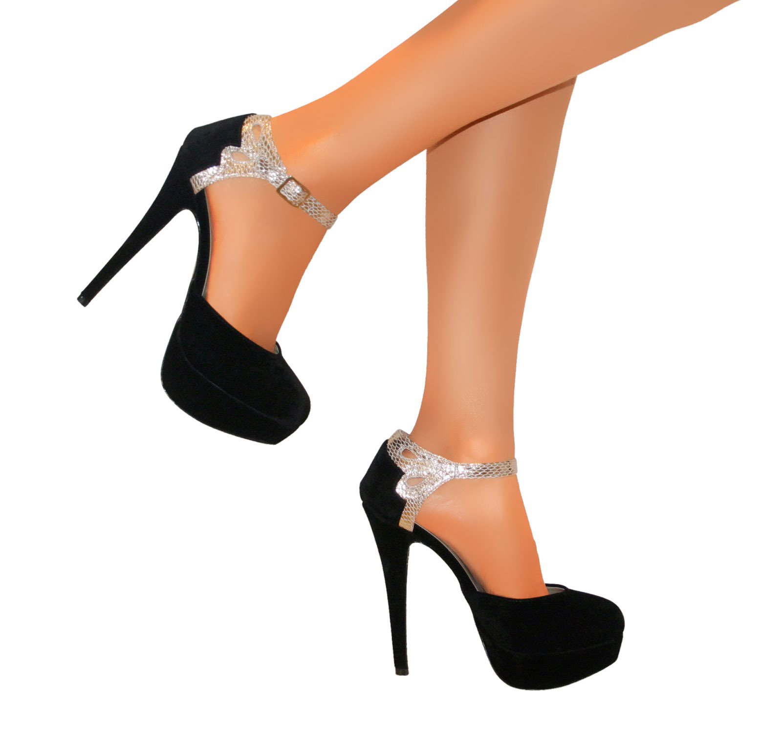 WOMENS STRAPPY GLITTER PLATFORM HIGH STILETTO COURT SHOE HEELS ...