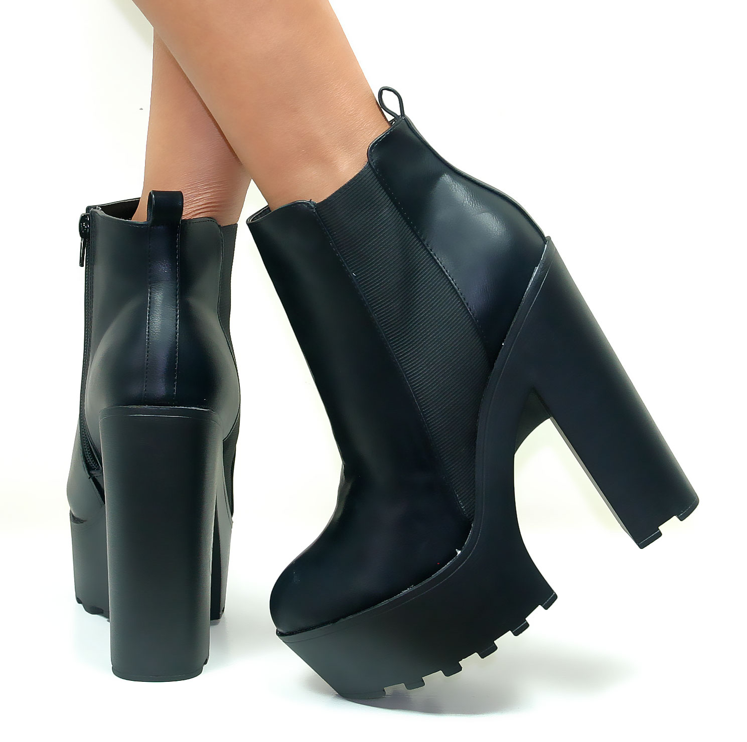 Platform Ankle Boots With Chunky Heel