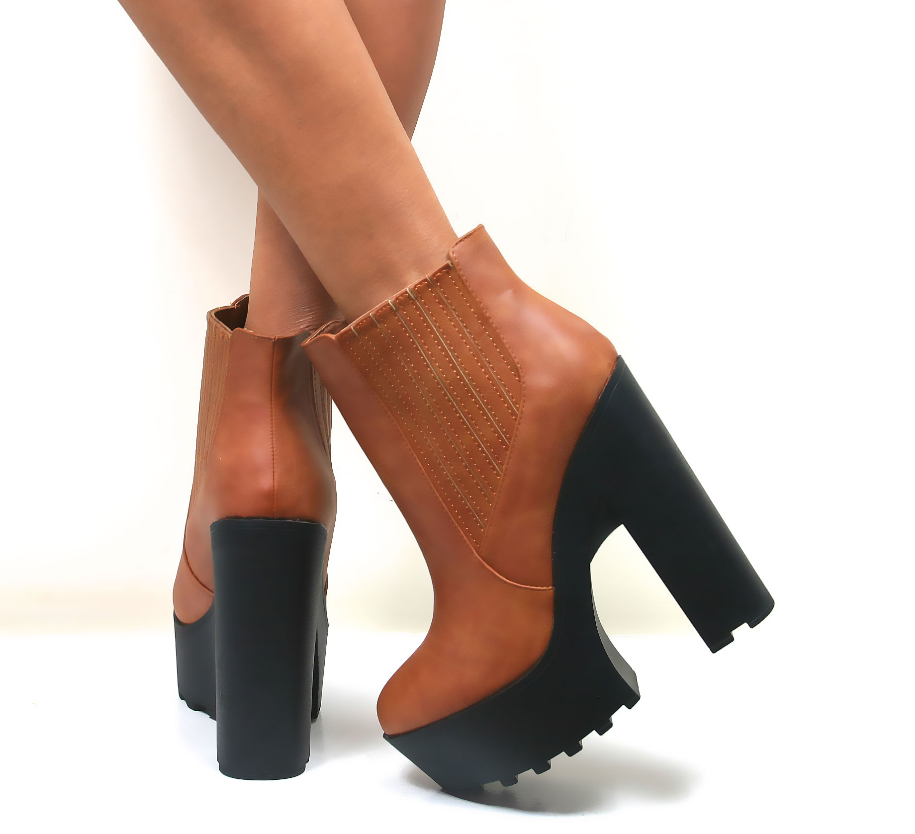 Platform Chunky Heel Ankle Boots