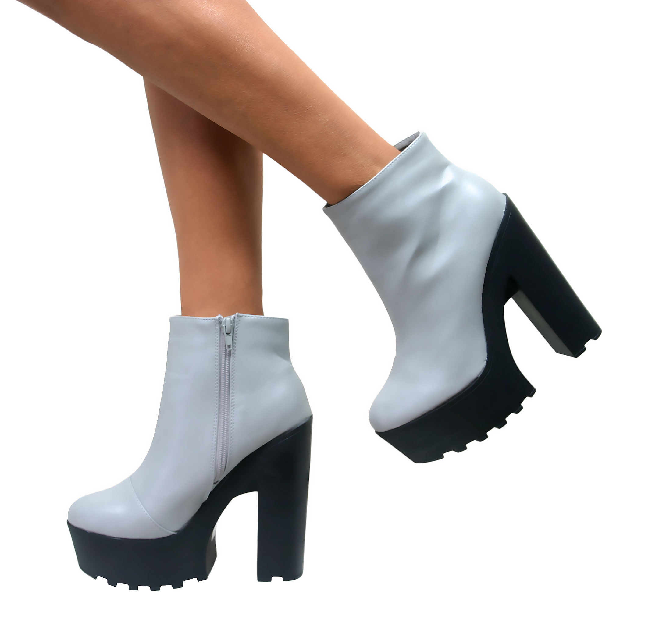 WOMENS CLEATED SOLE CHUNKY HIGH HEEL ZIP UP PLATFORM BOOTS GOTH ...