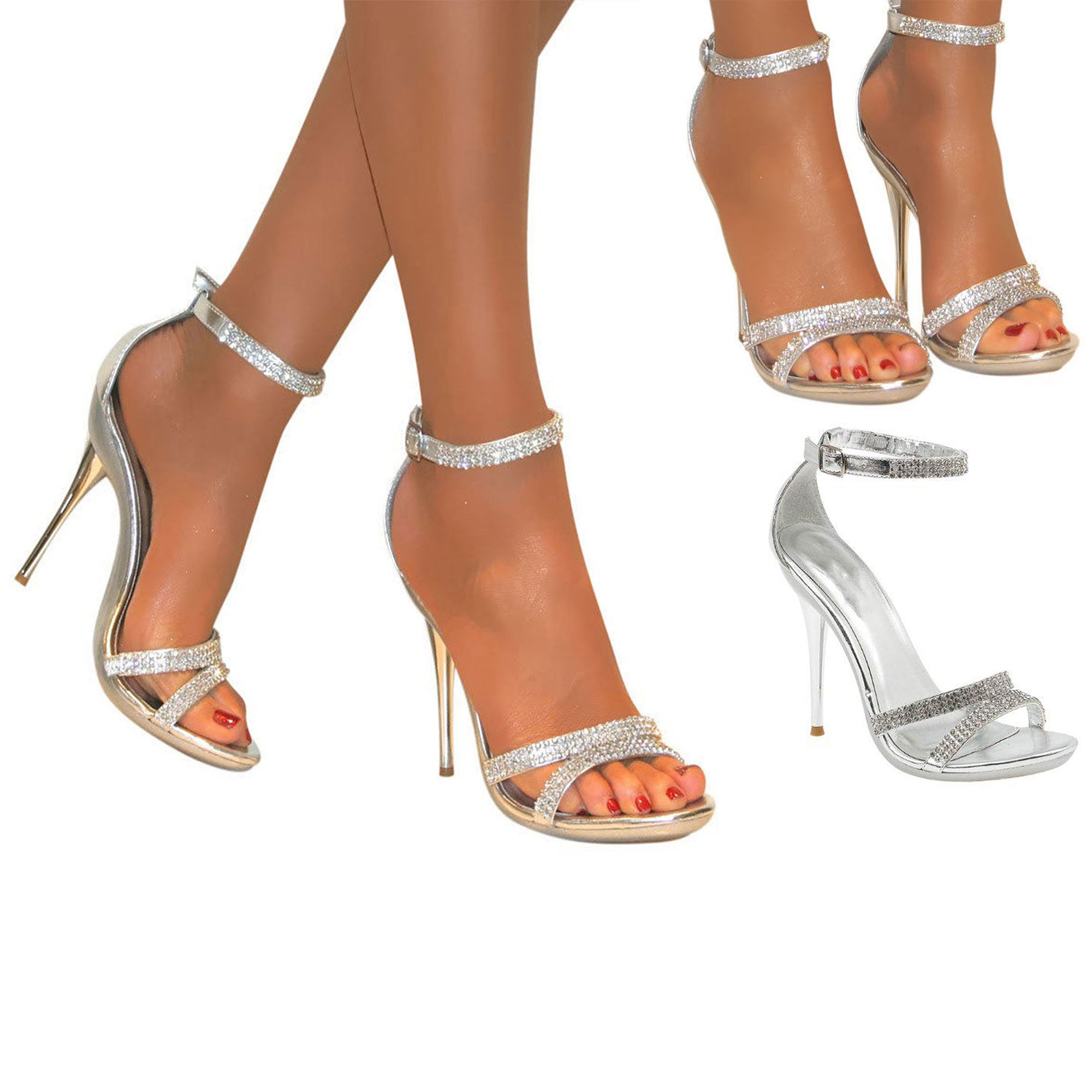 Silver Round Toe Court Shoes
