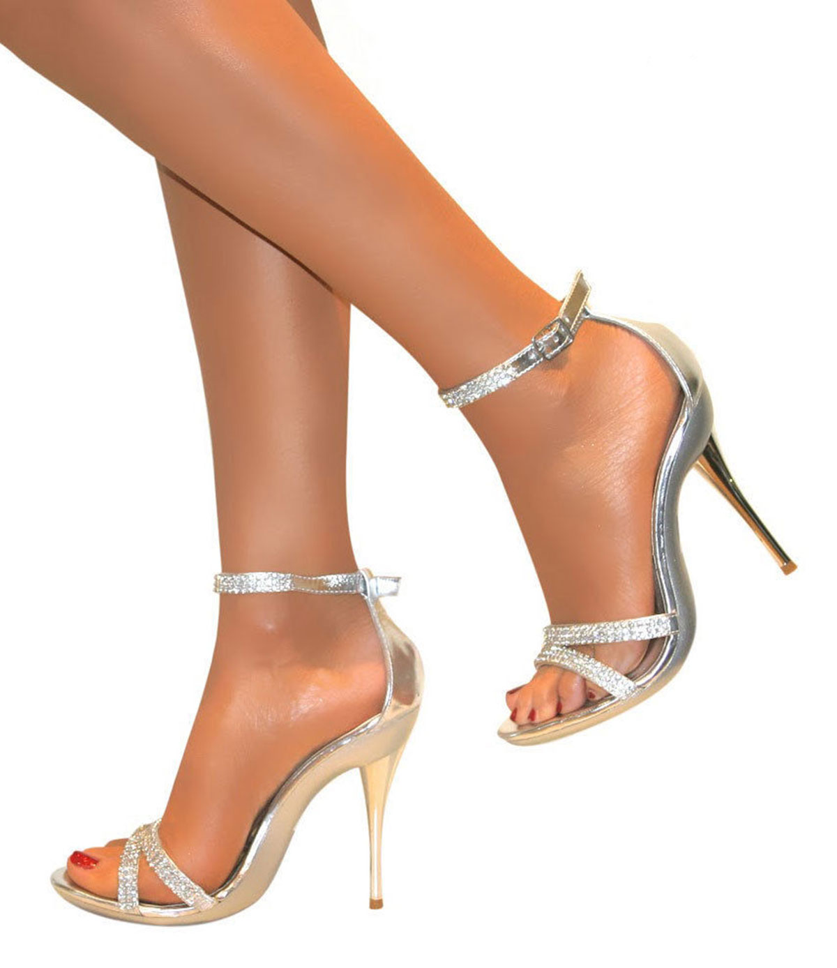 LADIES DIAMANTE SILVER STRAPPY ANKLE SANDALS SHOES HEELS WEDDING ...