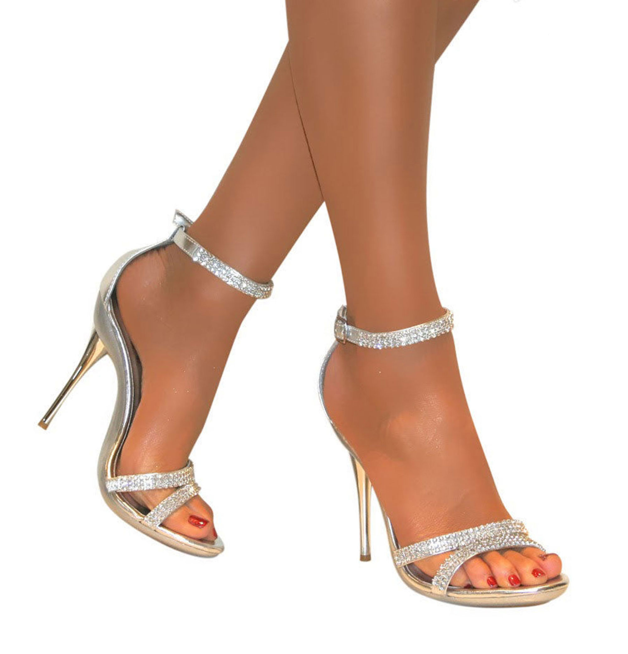 silver heels for wedding LADIES DIAMANTE SILVER STRAPPY ANKLE SANDALS SHOES HEELS WEDDING BRIDAL SIZE 3 8