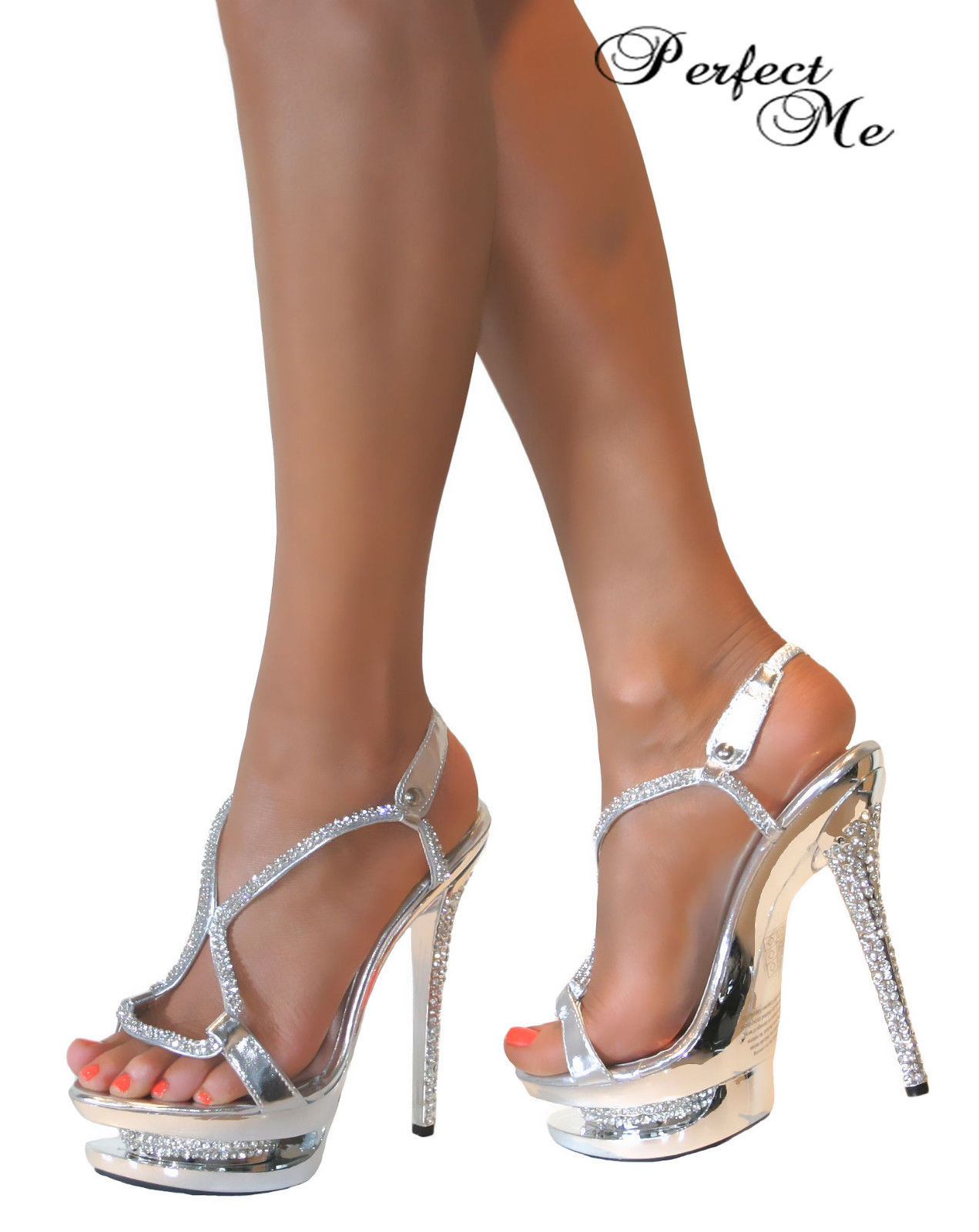 LADIES CRYSTAL GLITTER DOUBLE PLATFORM STRAPPY STILETTO HIGH HEEL ...