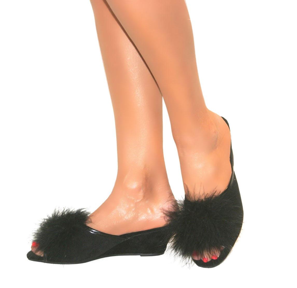 femme slip on dunlop mule talon compens en daim peep toe feather pantoufles chaussures taille. Black Bedroom Furniture Sets. Home Design Ideas
