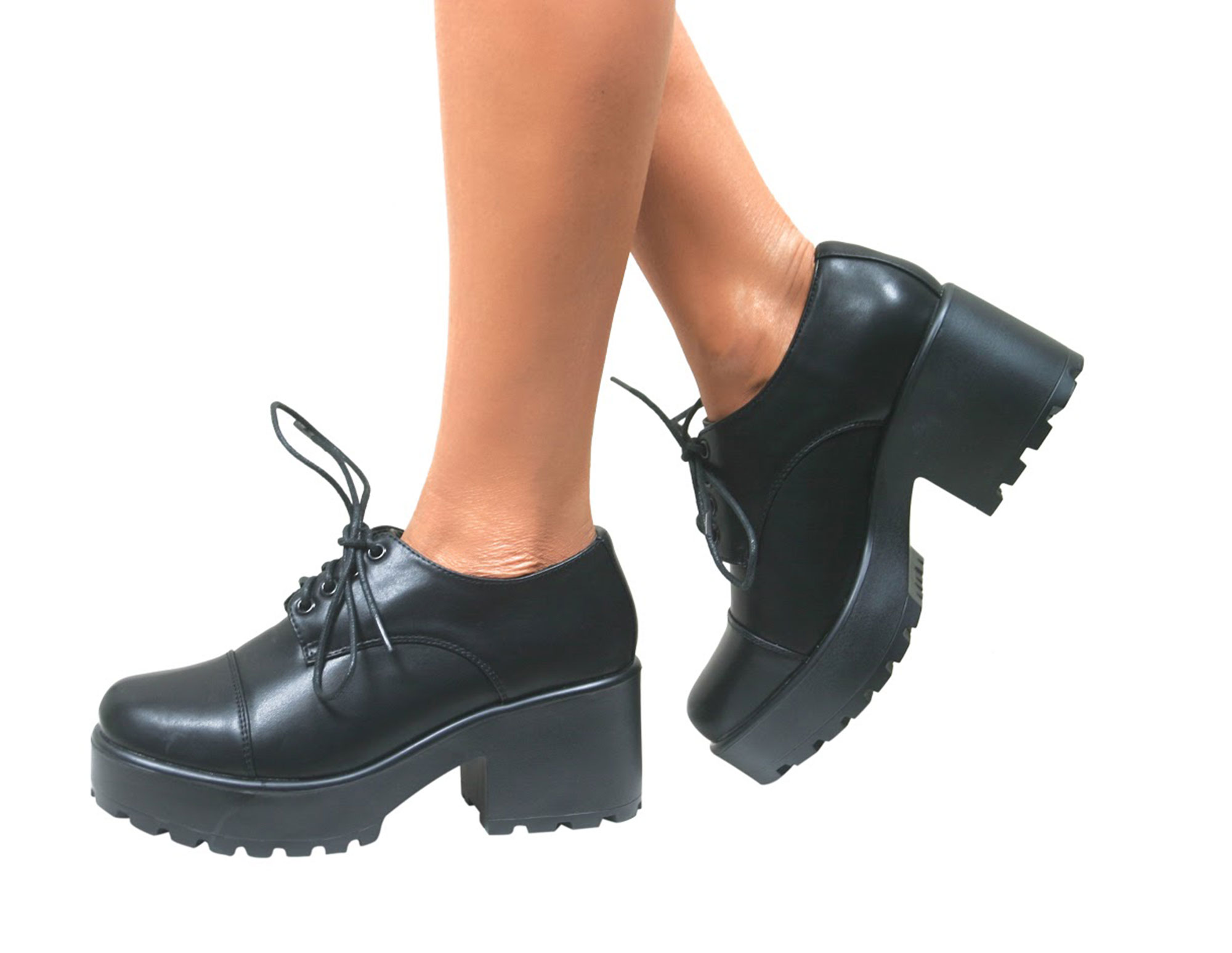 WOMENS LADIES VINTAGE LACE UP CHUNKY BROGUES SCHOOL PUMPS PUNK GOTH SHOES LOAFER