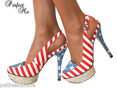 LADIES DOLCIS RED WHITE BLUE FLAG SLINGBACK STILETTO HIGH HEEL ...