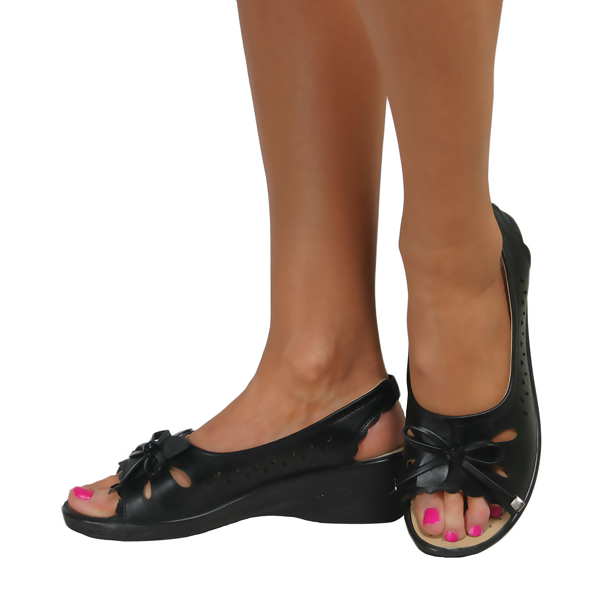 Ladies Wide Fit Casual Slip On Slingback Peep Toe Wedge Low Heel ...