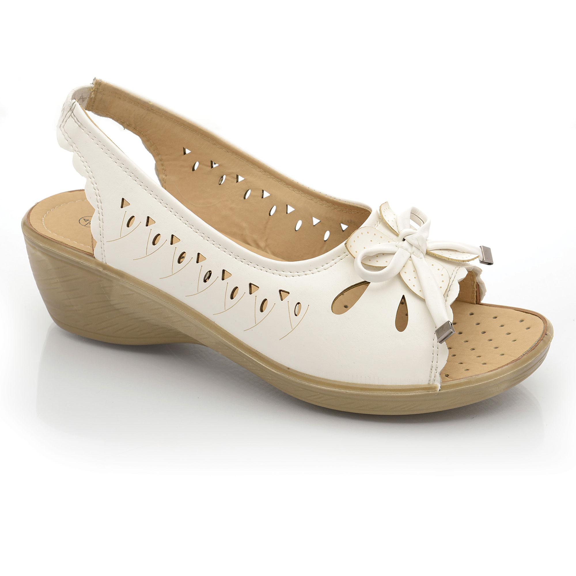 wide fit casual slip on slingback peep toe wedge