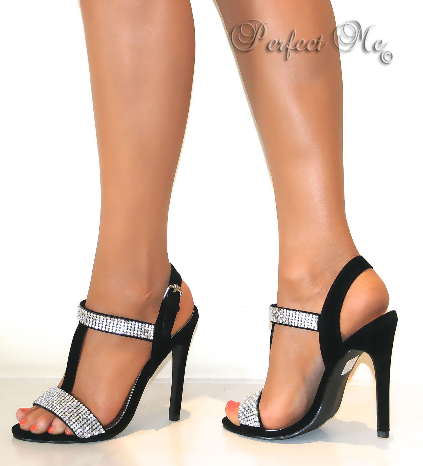 Black party sandals - Ladies Nude Black Glitter T Bar Strappy Ankle