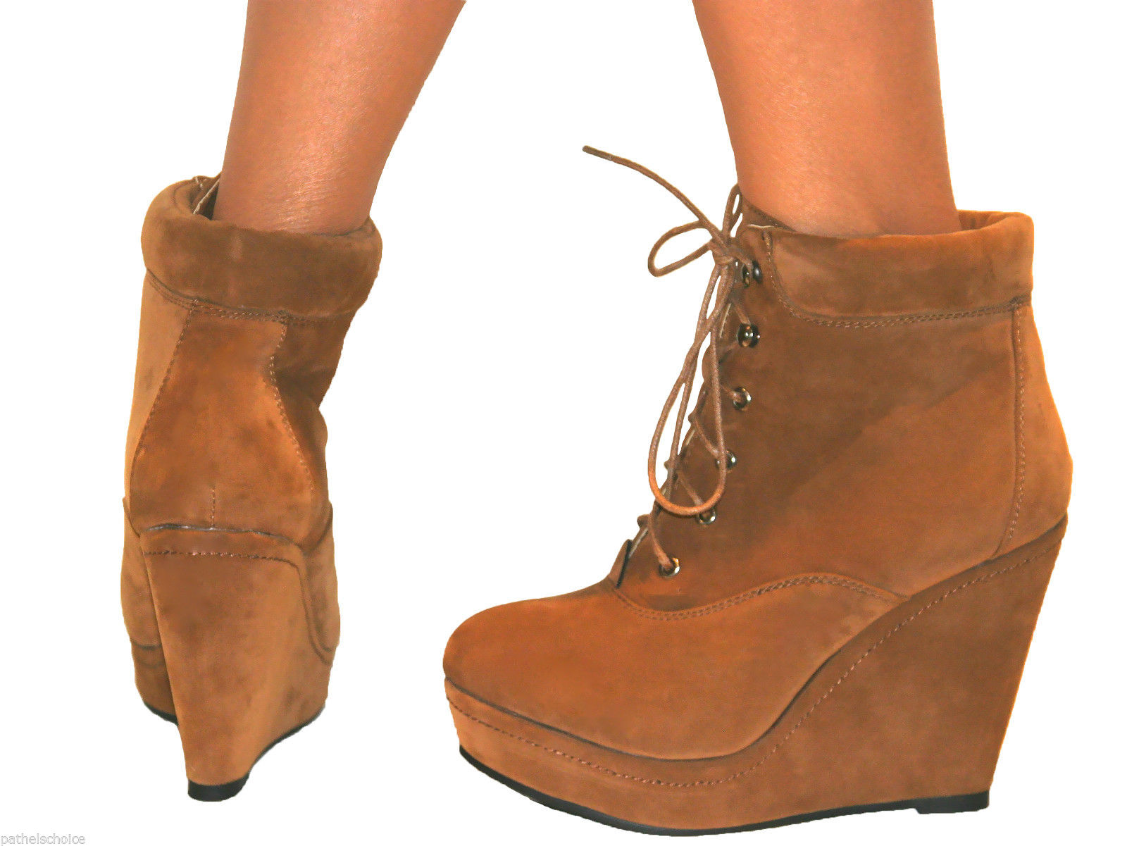 womens suede wedge high heel platform lace up shoes ankle