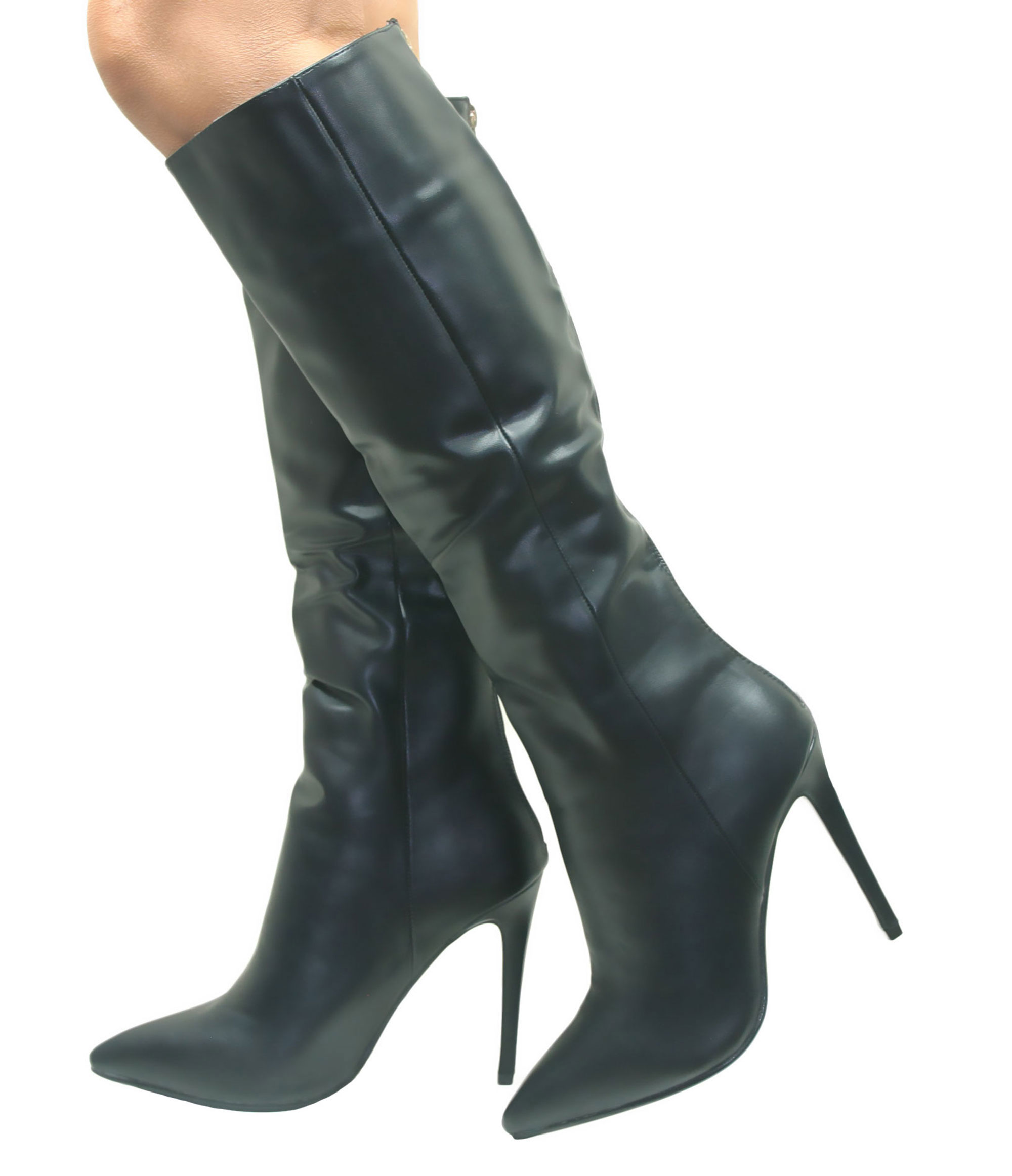 stiletto heel womens knee high pointed boots
