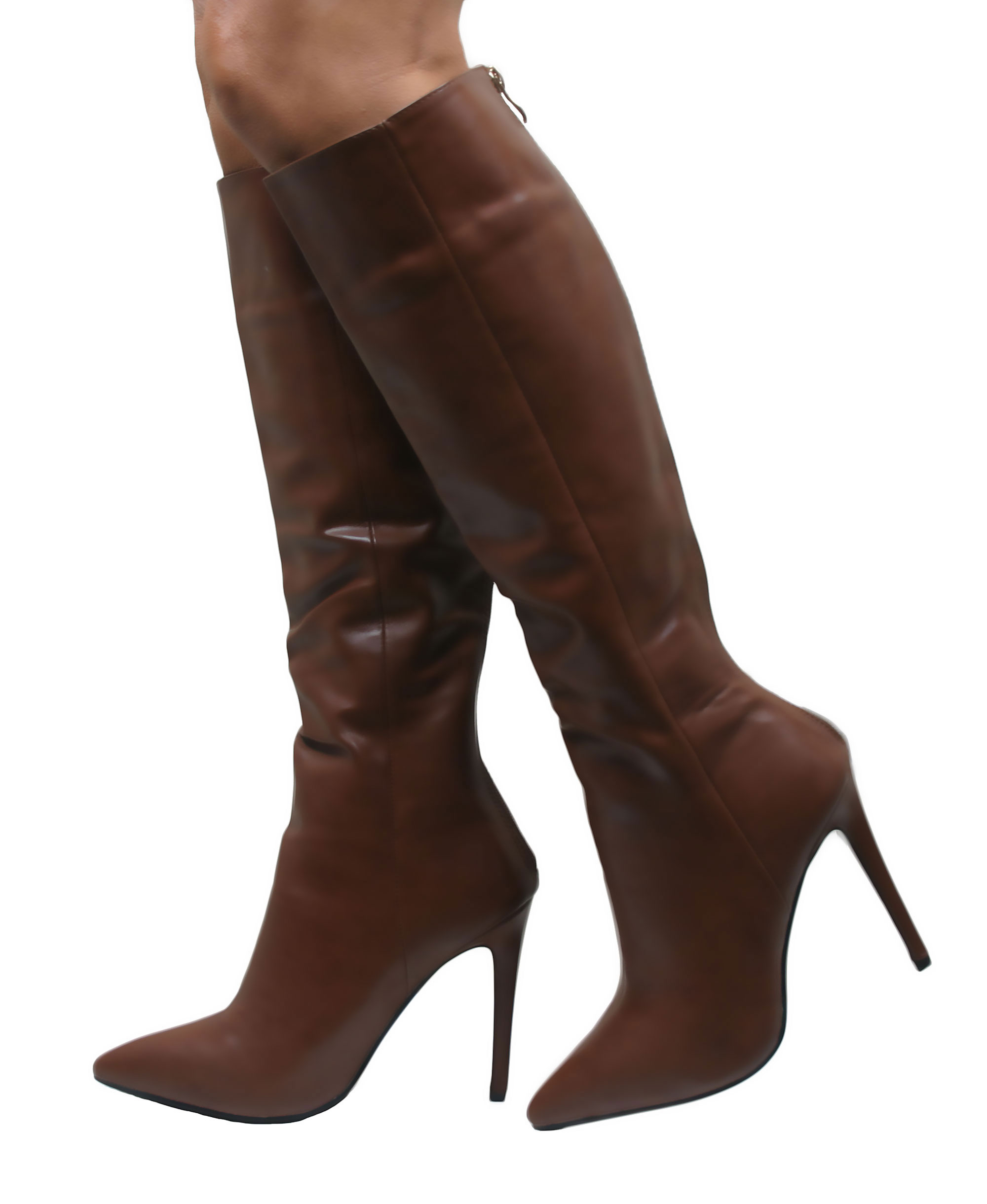 LADIES STILETTO HEEL WOMENS KNEE HIGH POINTED LONG BOOTS FAUX ...