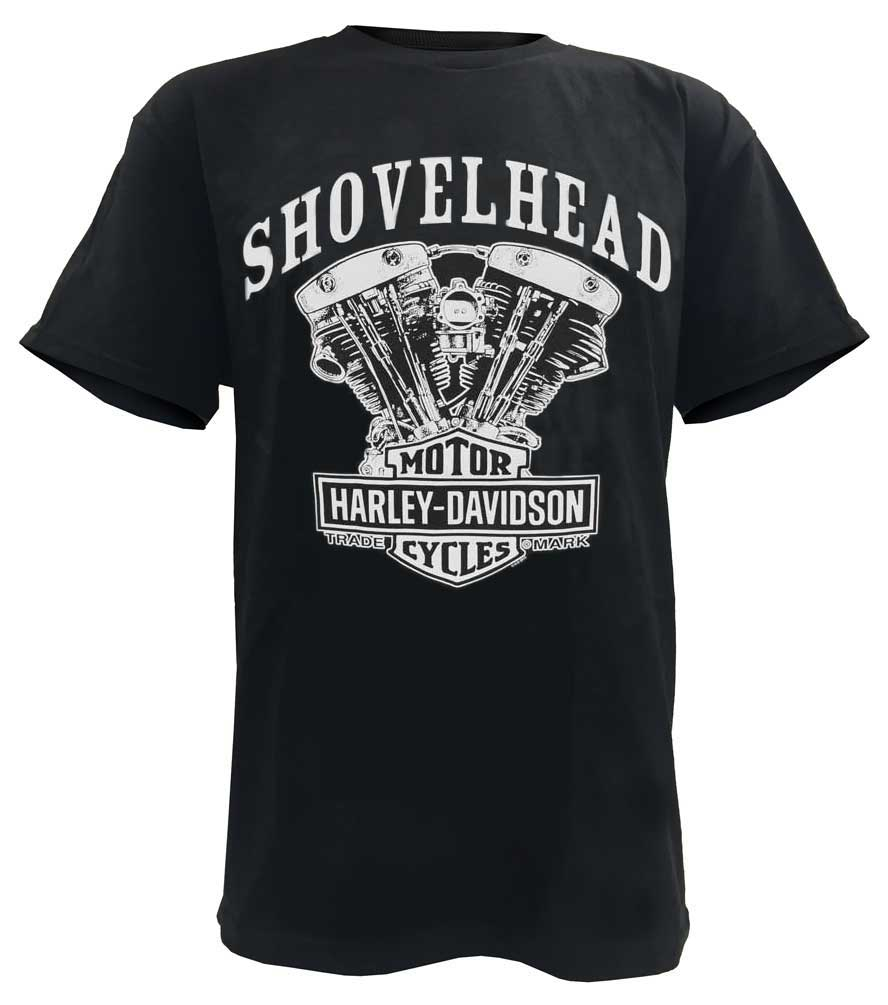 harley davidson men 39 s t shirt shovelhead engine short. Black Bedroom Furniture Sets. Home Design Ideas
