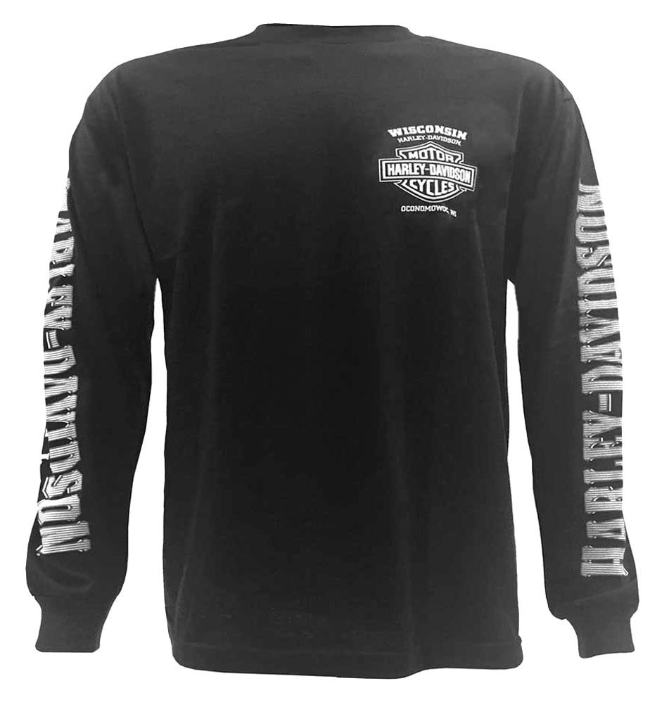 Black t shirt ebay - Harley Davidson Men S Skull Lightning Crest Graphic Long Sleeve Shirt Black