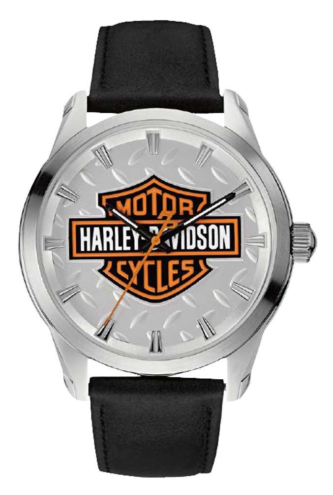 Harley Davidson Men S Diamond Plate Bar Amp Shield Watch