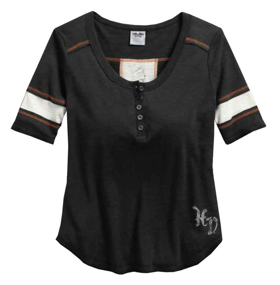 Harley davidson women 39 s colorblocked elbow length henley for Elbow length t shirts women s