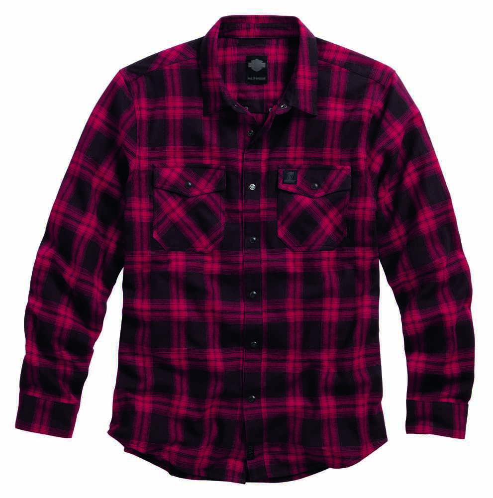 Harley davidson men 39 s red plaid lightweight flannel shirt for Men s lightweight flannel shirts