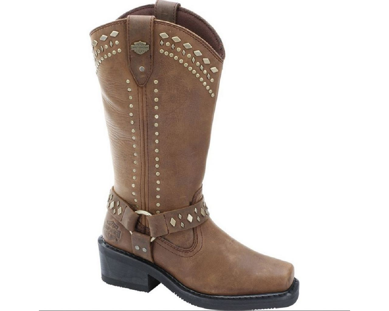 Elegant Harley Davidson Ladies DARICE Brown Leather Boot Slip On Biker Boots
