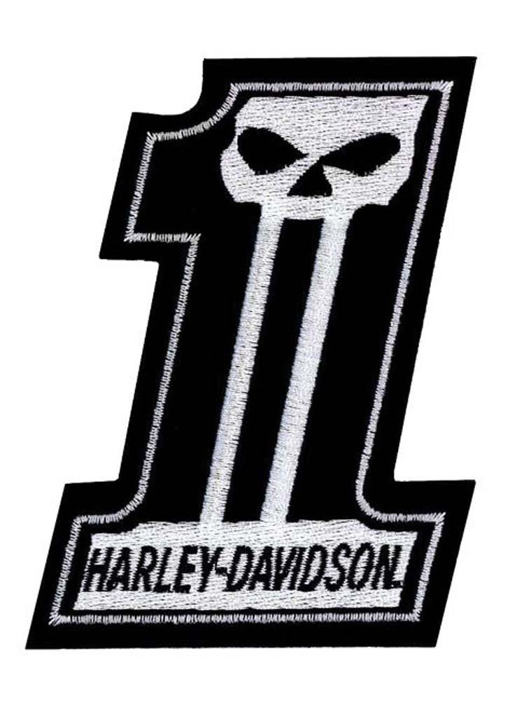 harley davidson 1 skull black white small patch 3 39 39 w. Black Bedroom Furniture Sets. Home Design Ideas