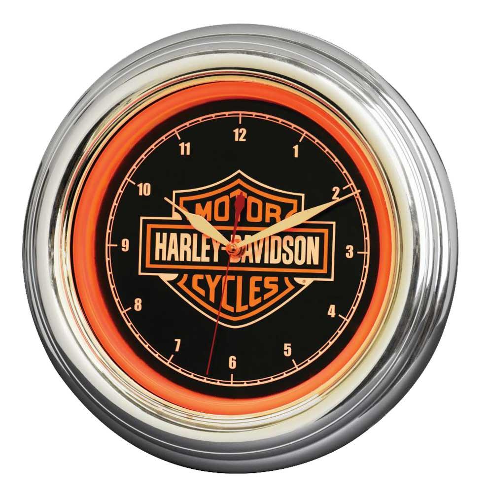 Harley Davidson Motorcycle Bar Shield Logo Neon Table Or: Harley-Davidson Bar & Shield LED Clock, Long Lasting