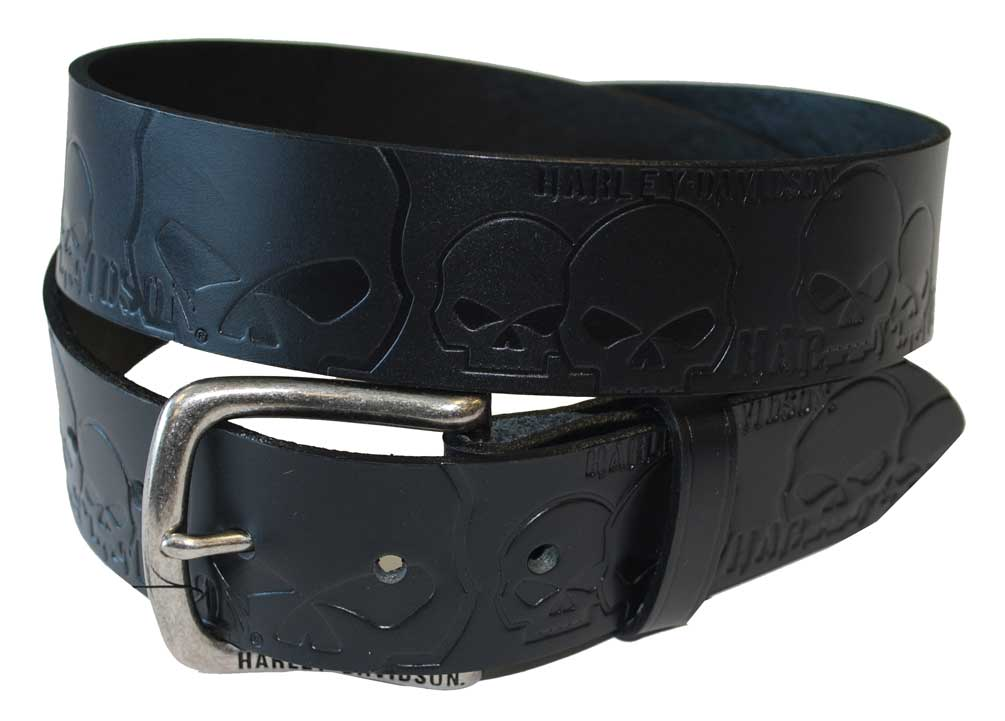 harley davidson s up skull belt black leather