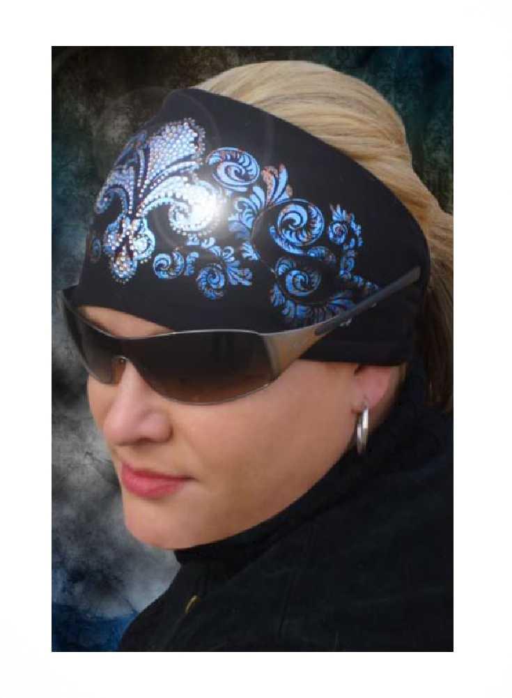 That's A Wrap Women's Biker Foil Bling Fleur-Blue Steel Knotty Head Wrap. KB1631